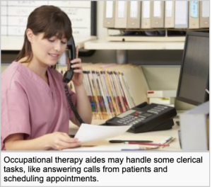 An occupational therapist assistant is on the phone in an office