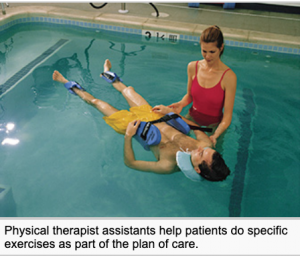 A female physical therapist stands waist deep in pool water while she helps a patient exercise in the pool.